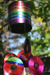 rainbow recycled wind chimes
