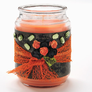 Black and Orange Decorative Candle