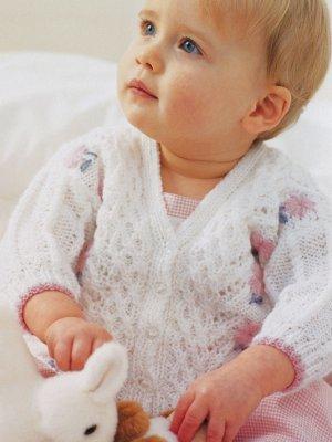 Baby Lace Cardigan Knitting Pattern Free : Babys Flower Lace Cardigan AllFreeKnitting.com