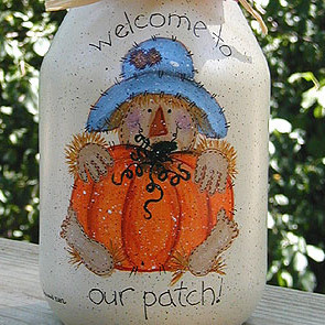 Pumpkin Patch Painted Jar