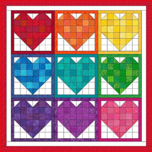 Rainbow Hearts Nine Patch Quilt