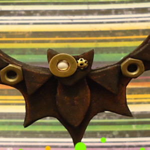 Recycled Steampunk Bat Necklace