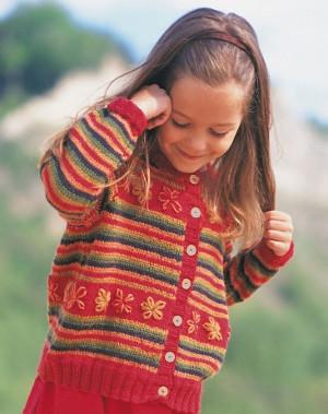 Patons Childrens Knitting Patterns Free : Lazy Daisy Fun Cardigan AllFreeKnitting.com