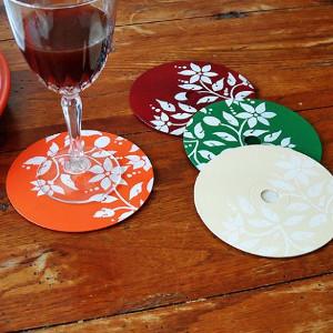 Pretty Stenciled Disc Coasters