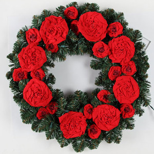 Rosy Cozy Christmas Wreath