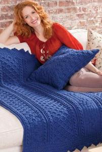 Blueberry Mornings Basket Weave Crochet Afghan & Pillow
