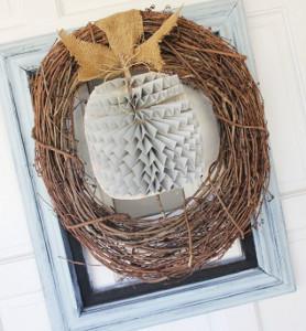 Rustic Framed Pumpkin Wreath