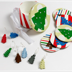 Festive Coaster and Wine Marker Set