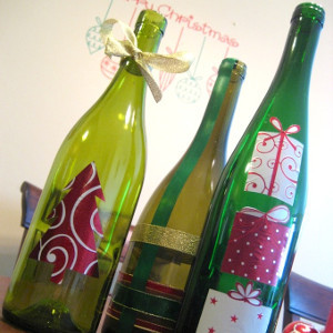 Glass Wine Bottle Christmas Decor