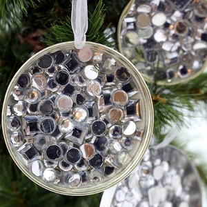 Simple Rhinestone Recycled Ornament