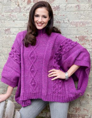 Cozy Cabled Poncho