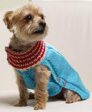 Snow Dog Knitting Pattern Free : Winter Woof Dog Sweater AllFreeKnitting.com