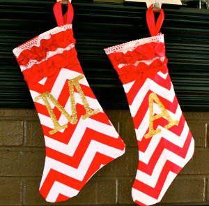 Ruffled Chevron Stocking