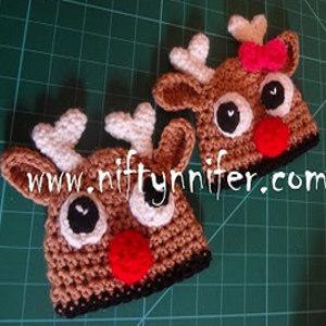 Free Crochet Pattern Baby Receiving Blanket : Reindeer Baby Hat AllFreeCrochet.com