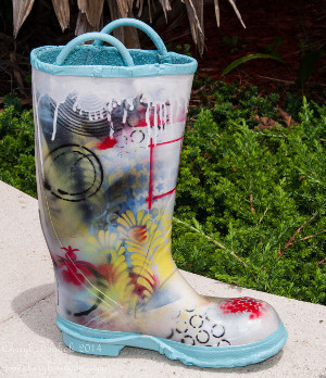 Decorative Stenciled Art Boot