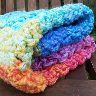 Crochet Cable Baby Blanket Pattern : Technicolor Cable Crochet Baby Blanket ...