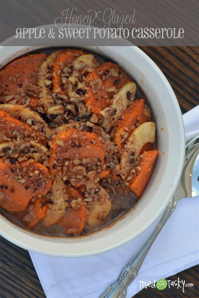 Honey Glazed Apple Sweet Potato Casserole | FaveHealthyRecipes.com