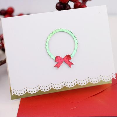 Elegant and Simple Wreath Christmas Card