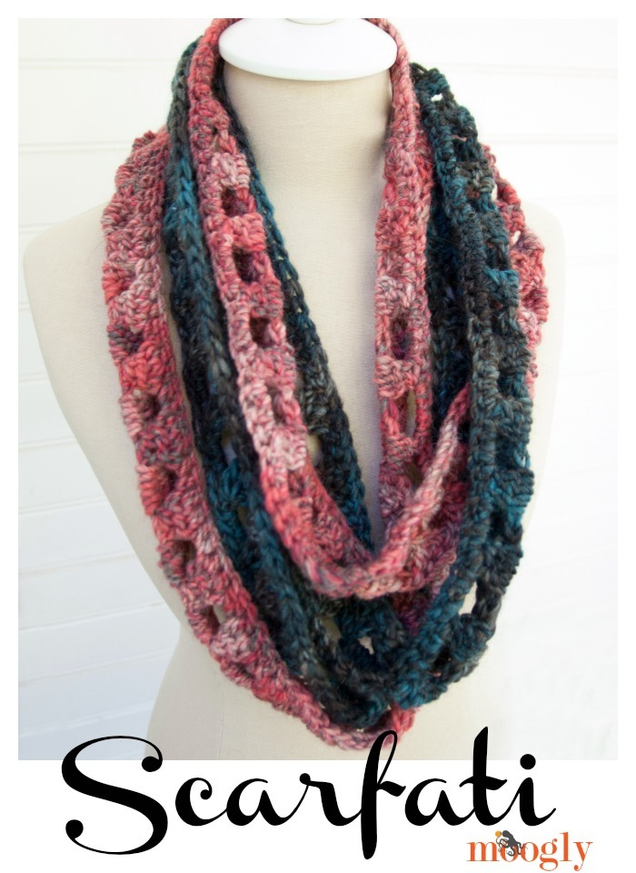 Free Crochet Scarf Patterns For Bulky Yarn : Twisted Chainlink Infinity Scarf AllFreeCrochet.com