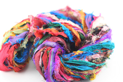 Tibet Jewels: Fair Trade Recycled Silk Sari Ribbon Yarn