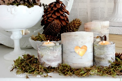 Romantic Woodland Faux Birch Lanterns