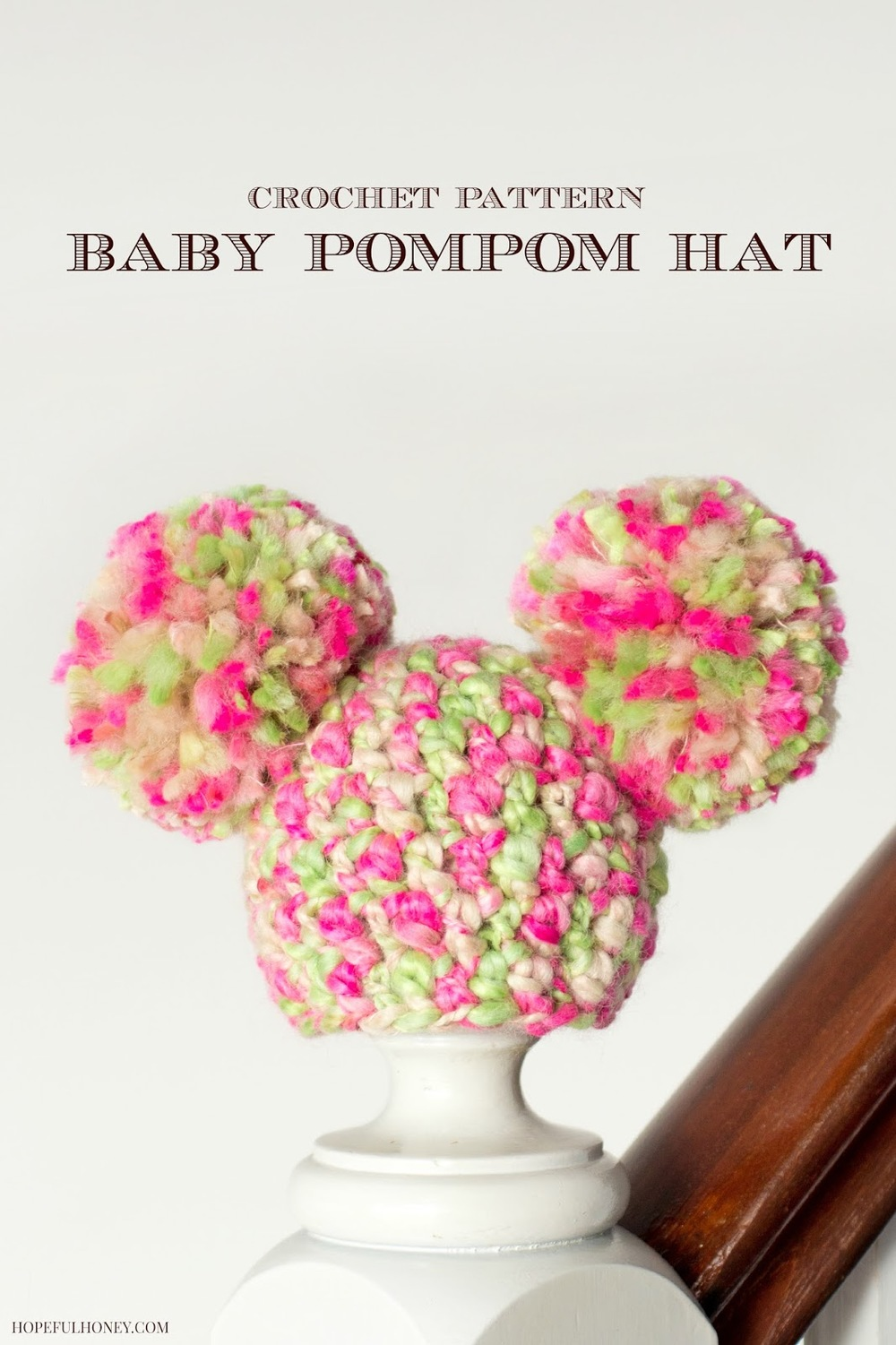 Free Crochet Pattern For Child Slouch Hat : Sugarplum Pom Pom Baby Hat AllFreeCrochet.com