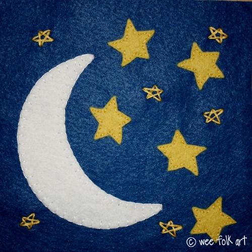 Аппликация луна и звёзды