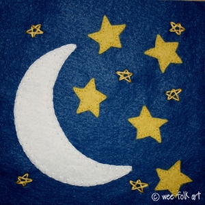 Moon and Stars Hand Applique