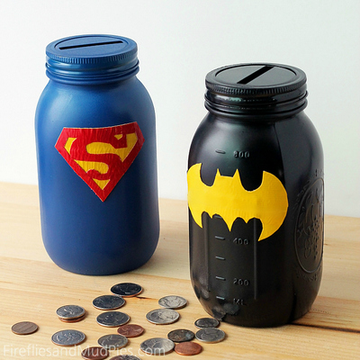 Superhero Banks from Mason Jars