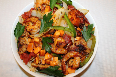 West African Chicken and Shrimp Stir Fry