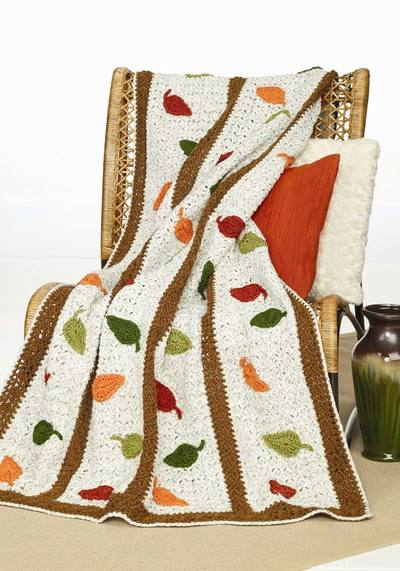 Crochet Falling Leaves Afghan