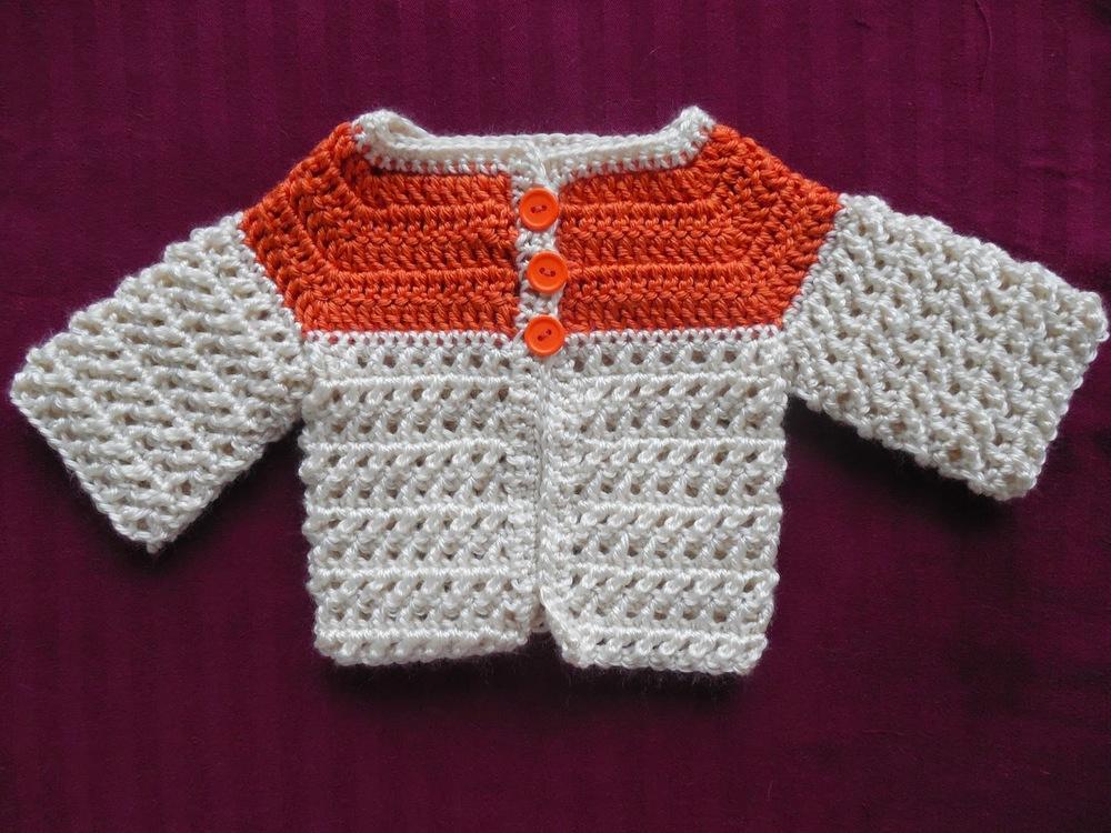 Crochet Baby Blanket Patterns Worsted Weight Yarn : Criss-Cross Baby Sweater AllFreeCrochet.com