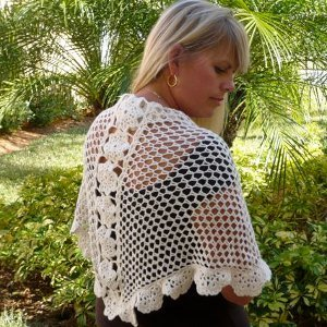 Elegant and Lacy Floral Shawl