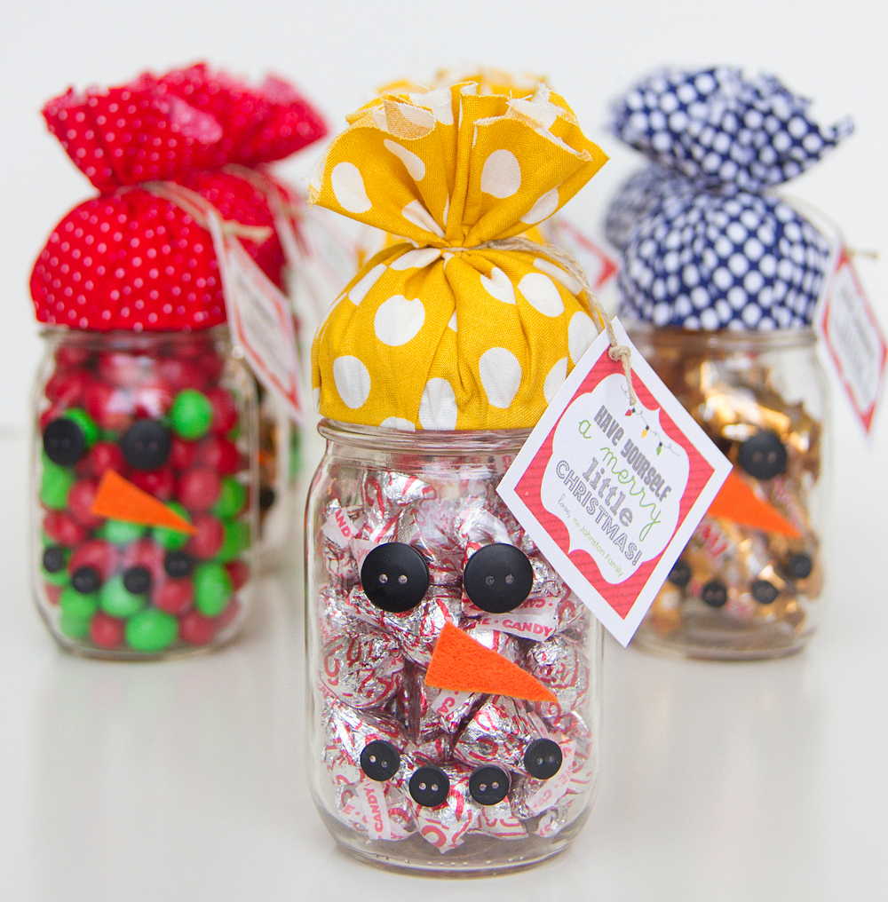 Candy jar snowman gift for Easy crafts for christmas presents