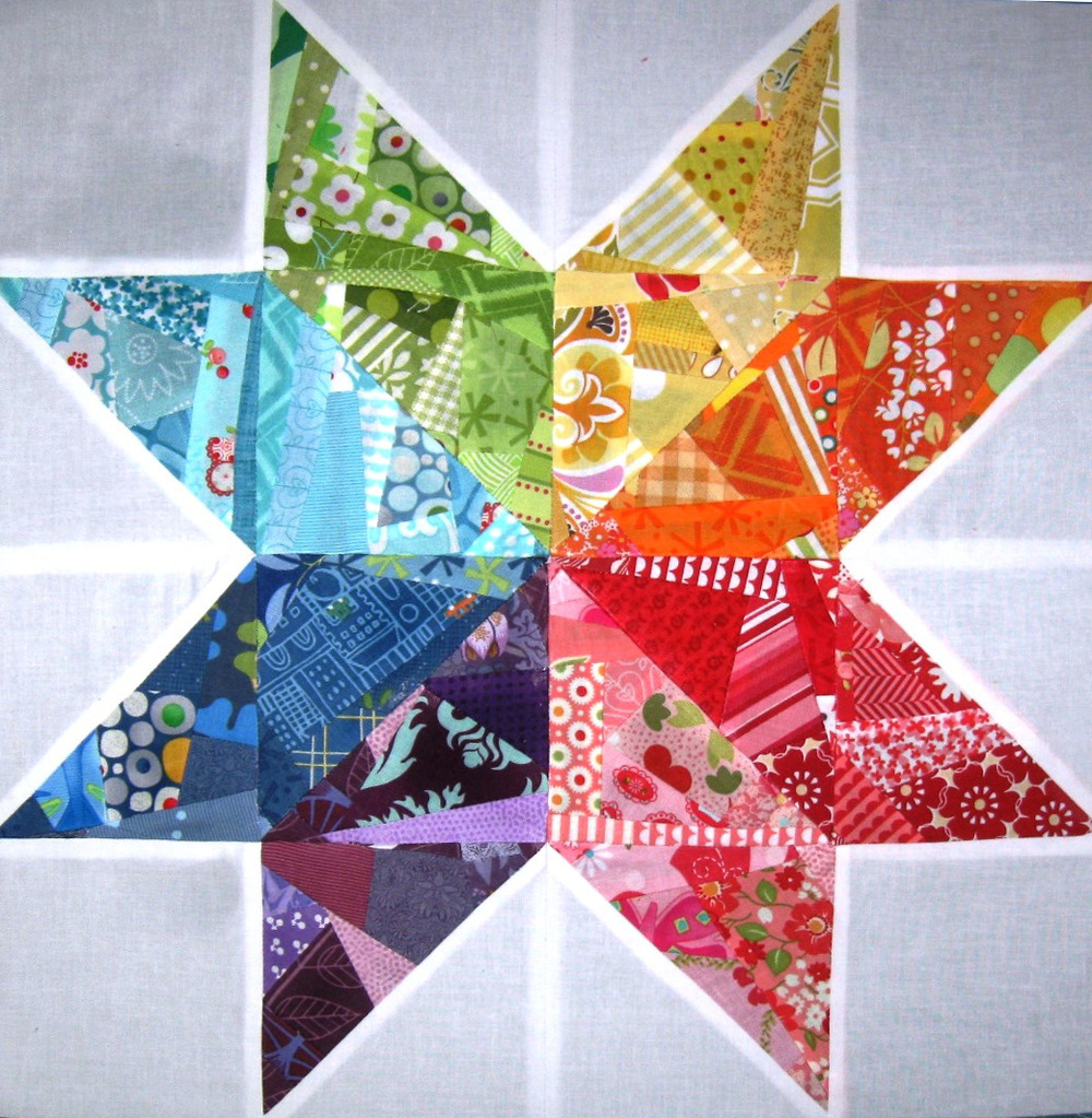 Free Quilting Block Designs : Scrappy Rainbow Star Quilt Block FaveQuilts.com
