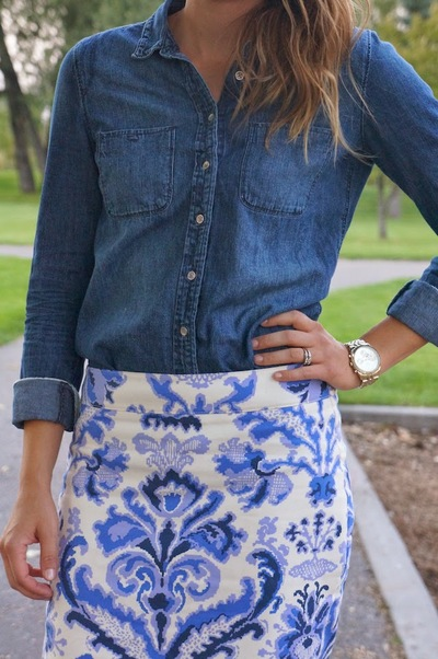 Porcelain Blue Pencil Skirt