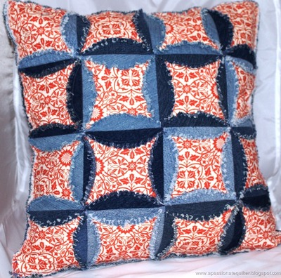 Denim Cathedral Windows Pillow