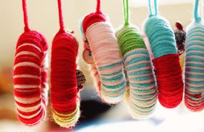 Twisted Yarn Wreath Ornaments