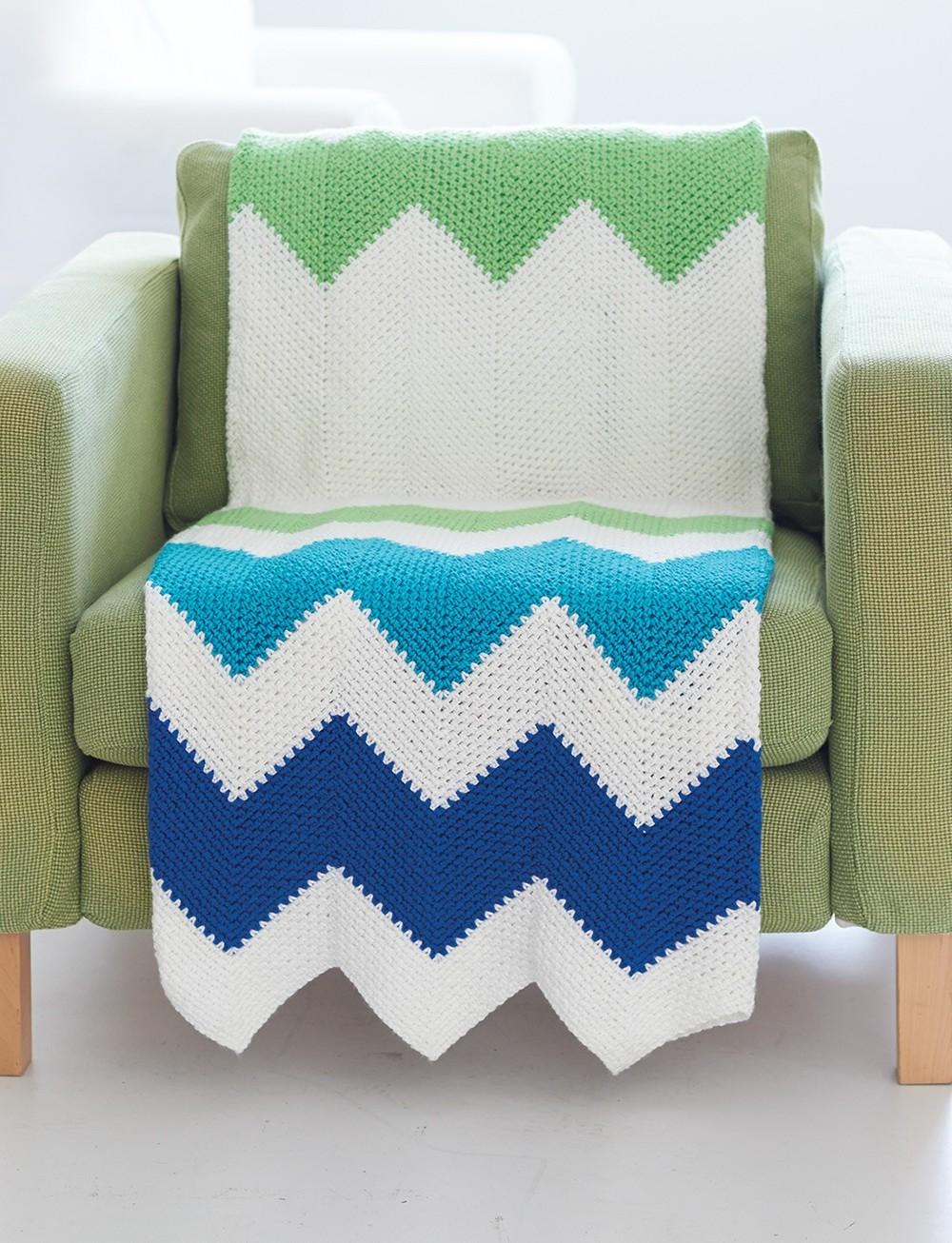 Easy Zig Zag Crochet Baby Blanket Pattern : Contemporary Zig Zag Throw AllFreeCrochetAfghanPatterns.com