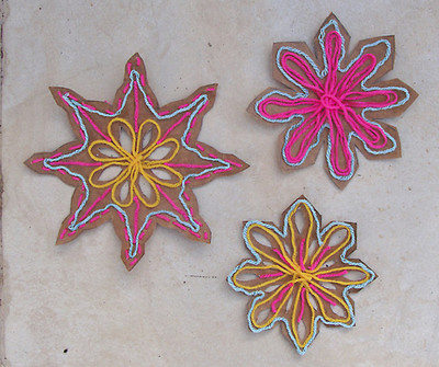 Recycled Cardboard and Yarn Snowflakes