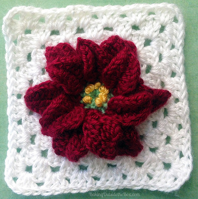 Magic Poinsettia Granny Square Pattern   AllFreeCrochetAfghanPatterns ...