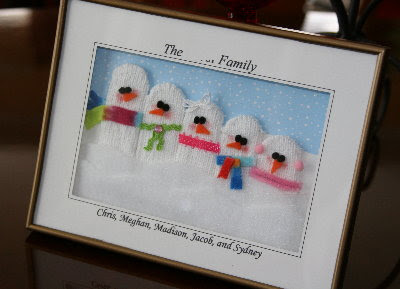 Framed Snowman Family