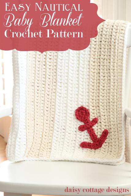 Easy Anchors Away Crochet Baby Blanket Pattern
