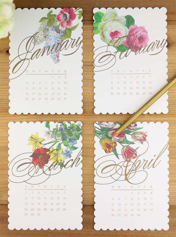 Diy Vintage Calendar : Vintage floral diy calendar allfreepapercrafts