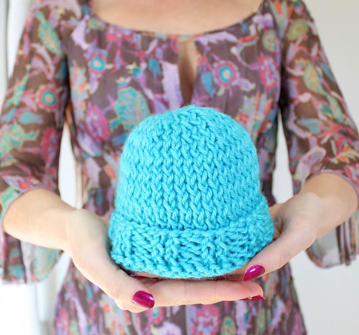 Knitting Pattern Beanie For Baby : Easy Baby Beanie AllFreeKnitting.com