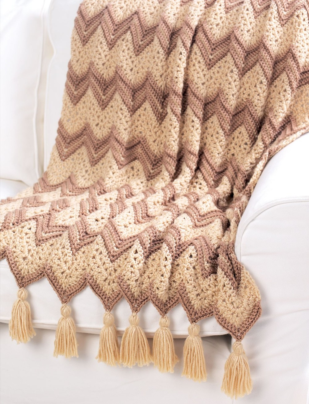 Free Pattern For Single Crochet Ripple Afghan : Neutral Ripple Afghan AllFreeCrochetAfghanPatterns.com