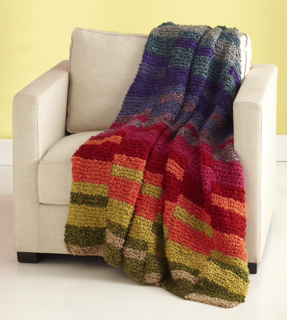 Afghan Knitting Patterns Easy : Light Spectrum Afghan AllFreeKnitting.com