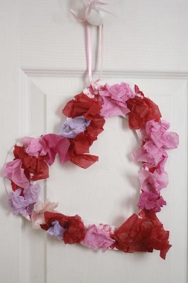 Tissue Paper Heart Wreath Allfreekidscrafts Com