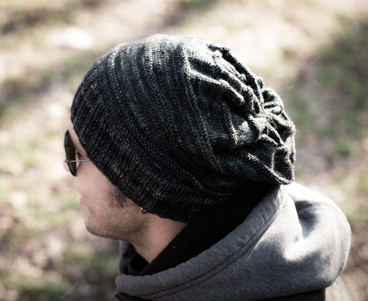Mens Knitted Hat Patterns : Man Slouch Knit Hat Pattern AllFreeKnitting.com