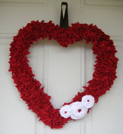 Upcycled T-Shirt Heart Wreath
